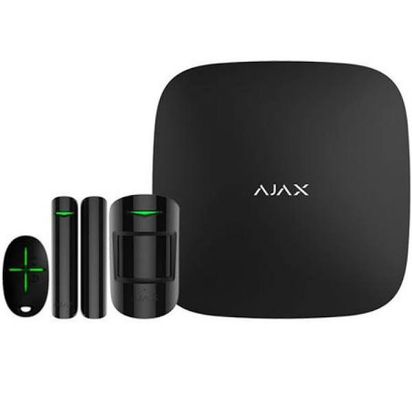 Csslr Plus Ajax Alarm-Kit. Indhold: Security Hub, Pir-Detektor, Åbningskontakt Og Fjernbetjening. App For Ios / Android.Farve: Sort