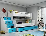 BMS Max 3 Bunk bed 3 persons with mattresses and with drawer for beddding (200x80cm) / colour blue