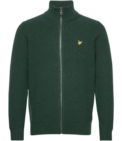 LYLE & SCOTT Cardigan Kofta Stickat Rib Zip Through Kofta Grön - XL - Herr > Toppar