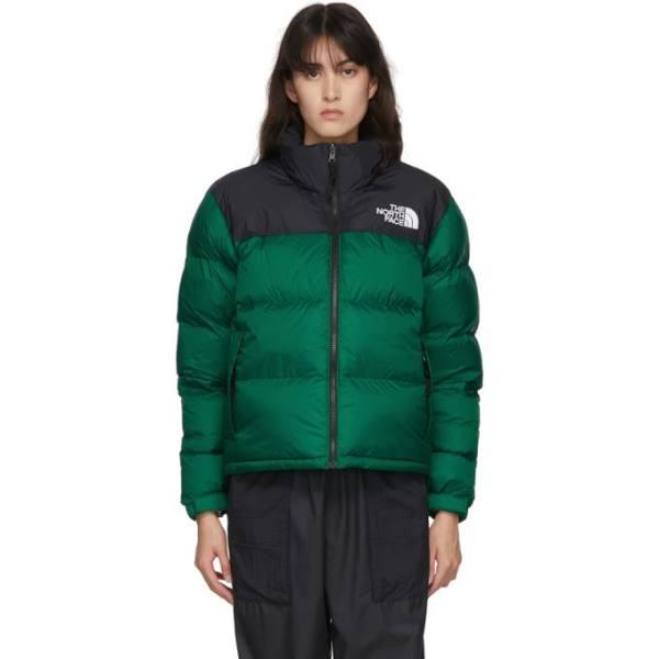The North Face Black and Green Down 1996 Retro Nuptse Jacket