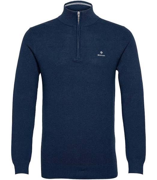 GANT Half Zip Sweater Bomull Pique Half Zip Blå - XL - Herr