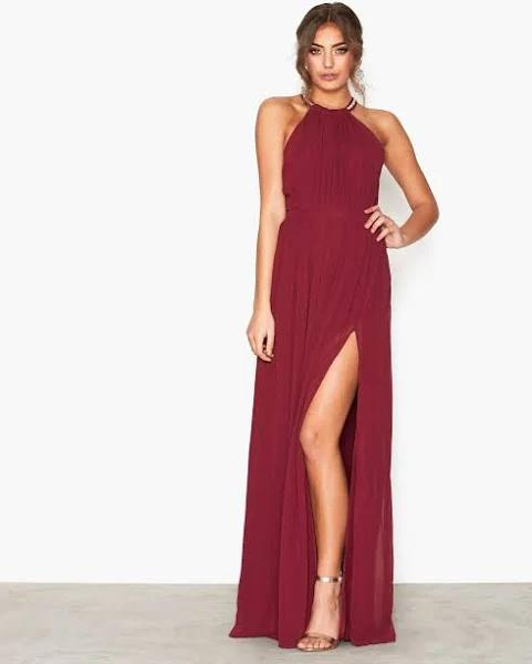 NLY Eve - Maxiklänningar - Burgundy - Halterneck Beaded Gown - Festklänningar - Maxi Dresses