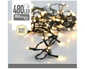 LED-slinga med 480 ljuspunkter - 36m, Varmvit