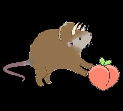 Dinosaur Rat with Peach