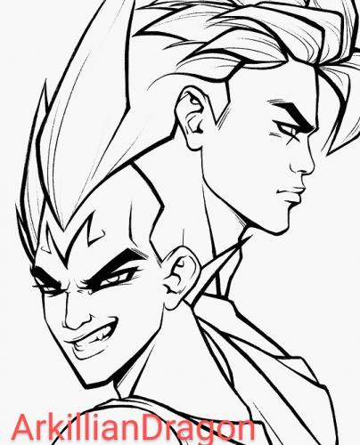 Majin Vegeta and Gokou