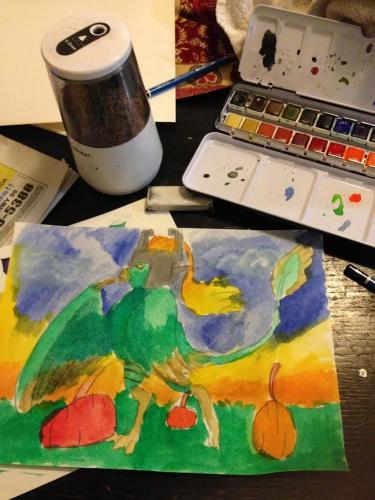 Strigadon watercolor Halloween costume