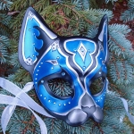 Blue Jeweled Cat Mask
