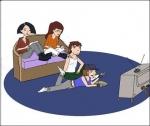 The gang watching TV
