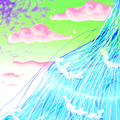 Purple webs in green skys