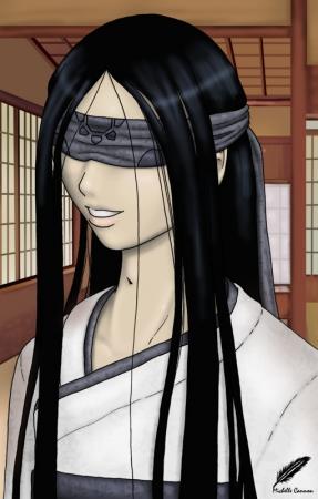 Yori blindfolded