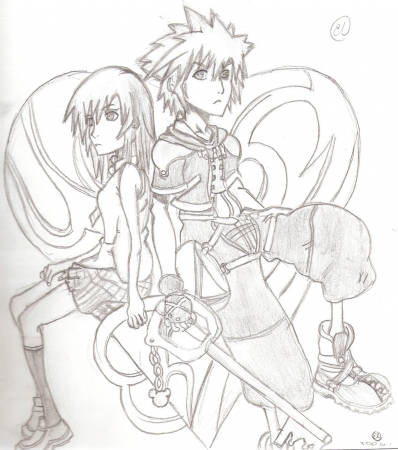Kingdom hearts kairi and sora