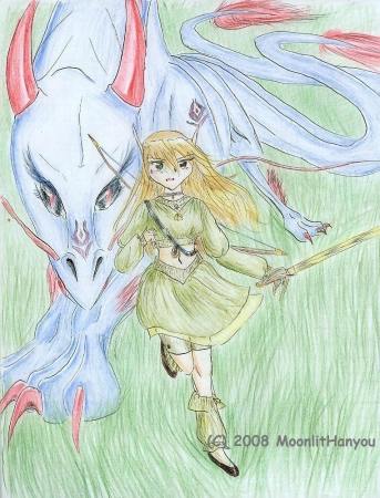 Elven girl with Dragon