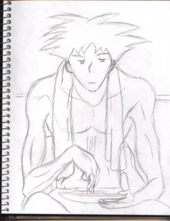 Spike Spiegel sketching