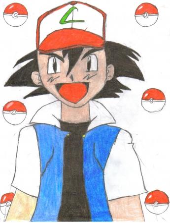 Ash and pokeballs