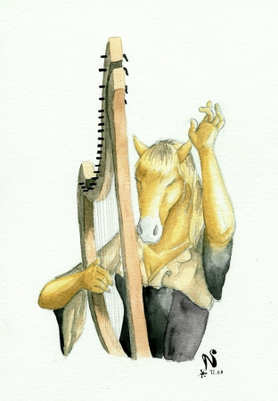 Labelle plays the harp