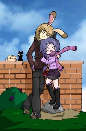 Kitty and Bunny huggles <3