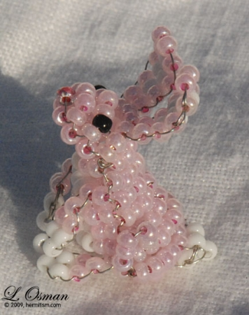 Bead Easter Bunny - baby pink