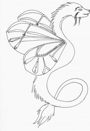 Butterfly Dragon LineArt