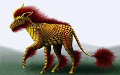 Golden and red qilin