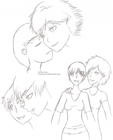 Shinji and Kawruo girl doodles