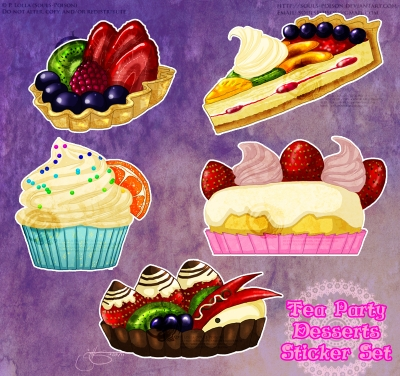 Tea Party Desserts Sticker Set