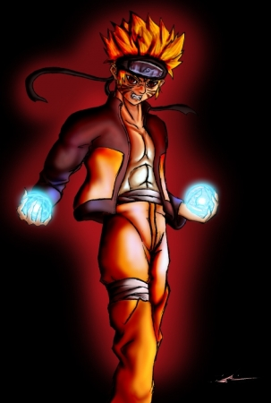 Naruto using double Rasengan
