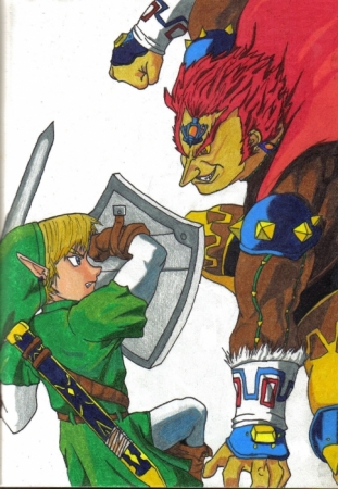 Link fighting Ganon