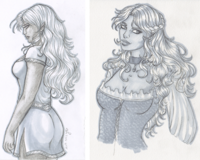 RPG Session Copic sketches