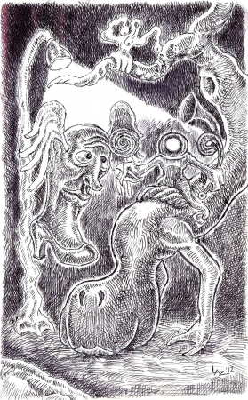Creatures under lamp-post