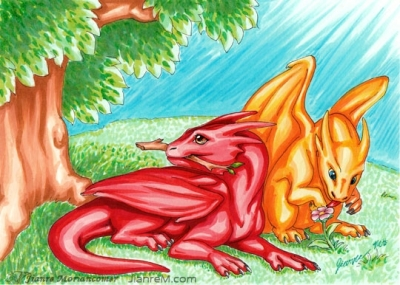 Baby Dragons Exploring Nature