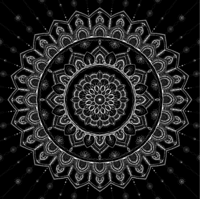 Mandala, White on Black