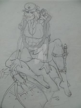 Vintage Frogwoman Pencil Study