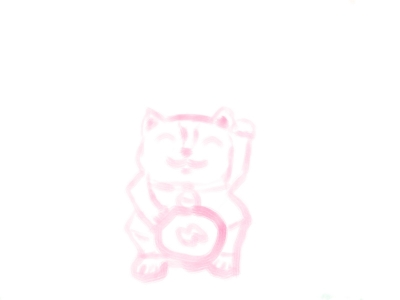 Lucky Cat Pen Holder Sketch