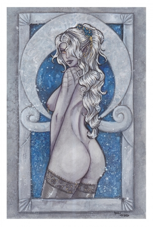 Watercolor: Drow Pin Up