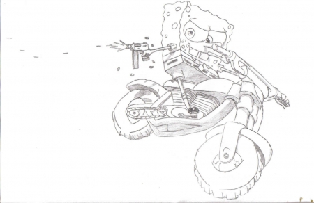 Spongebob Jumping a Motorcycle