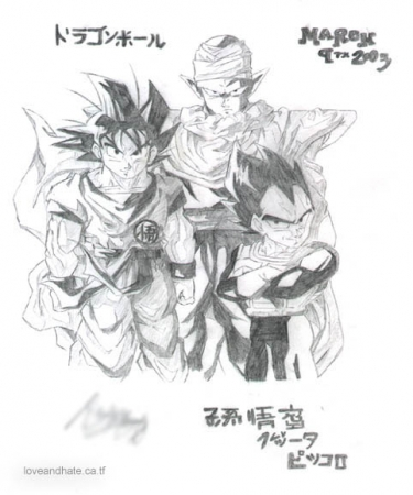 Piccolo  Goku and Vegeta