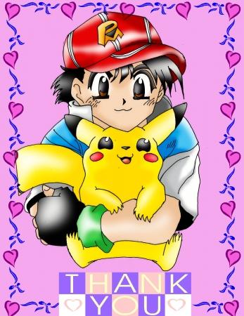 Ash and Pikachu cute colored