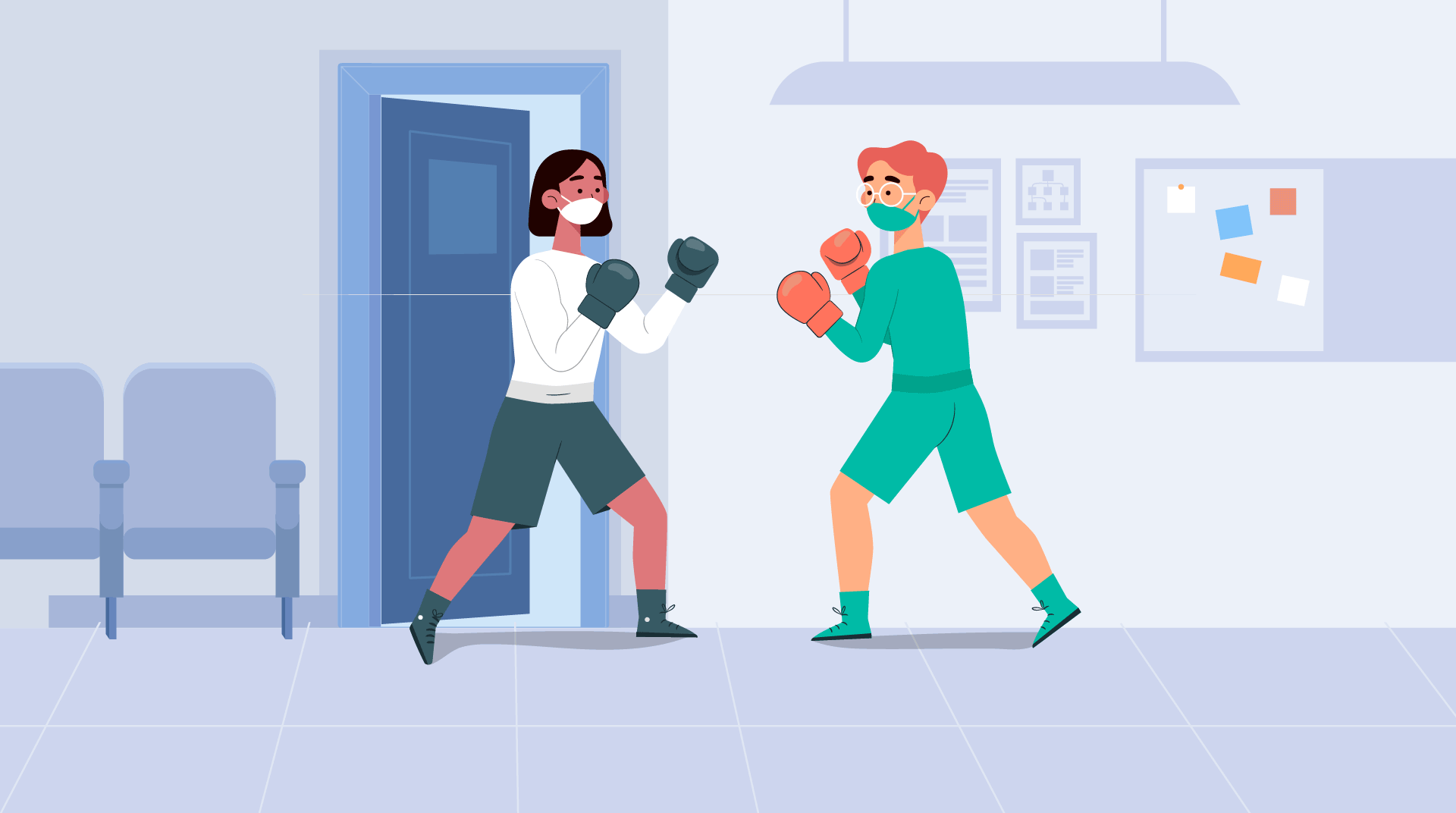Two cartoon nurses wearing masks and boxing gloves fighting.