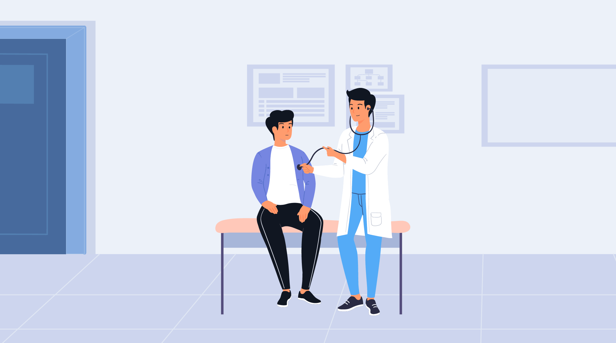 cartoon nurse checking patient with stethoscope
