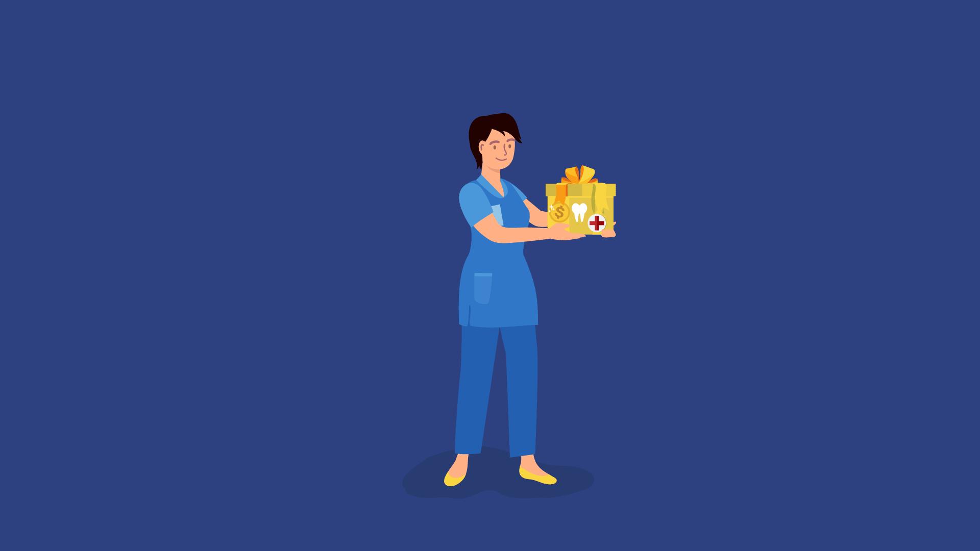 cartoon nurse holding a gift