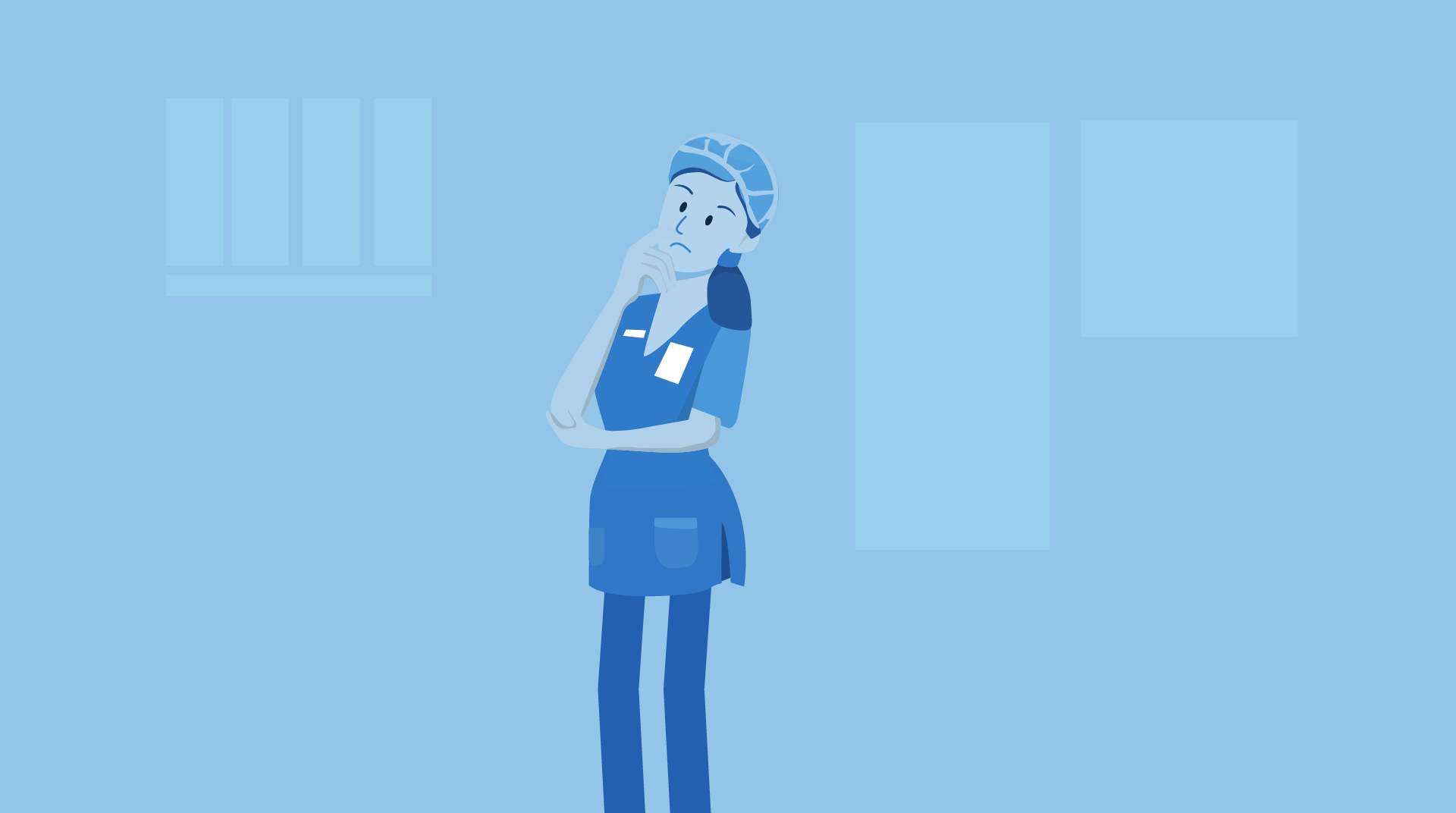 cartoon nurse thinking with her hand on her chin.