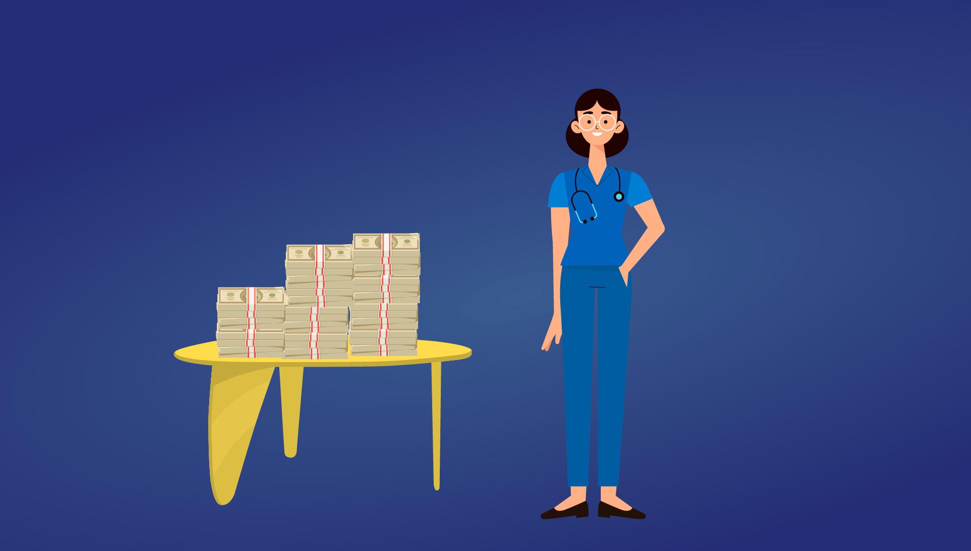 cartoon nurse standing next to stack of money