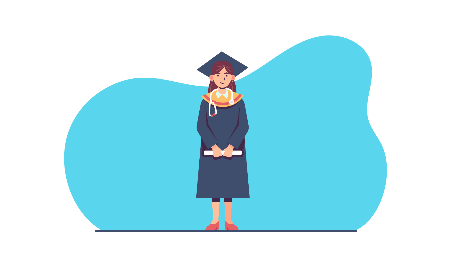 cartoon nurse wearing graduation cap and gown holding a diploma