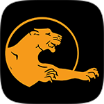 Rugby Panther Black and Orange Logo