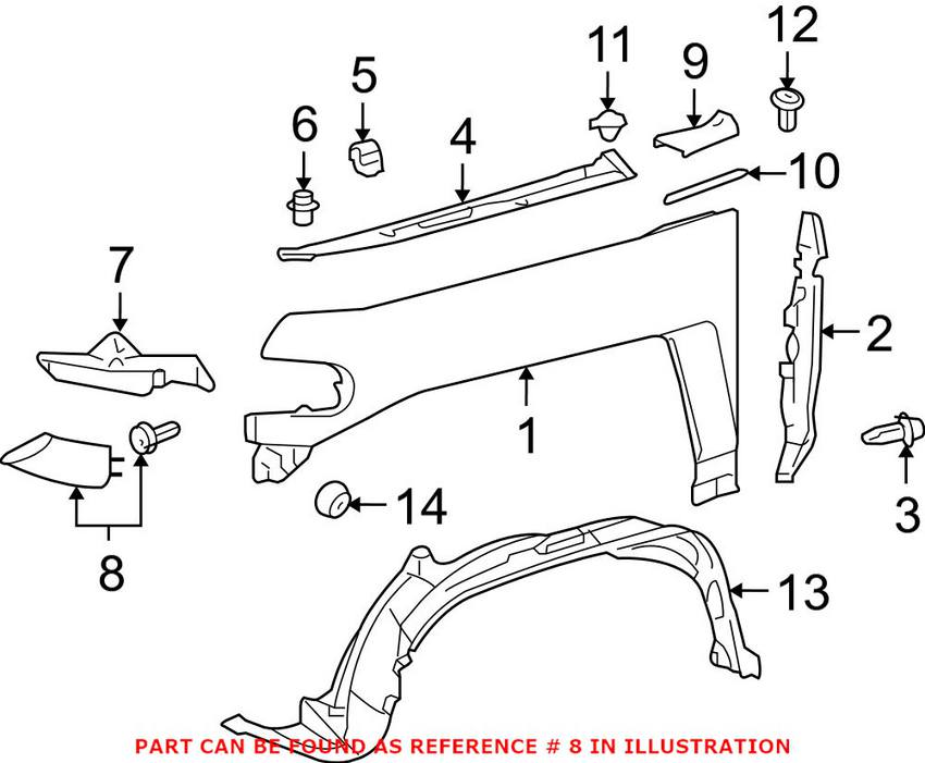 For Toyota Genuine Bumper Cover Spacer Panel Front Left 5251335100G0
