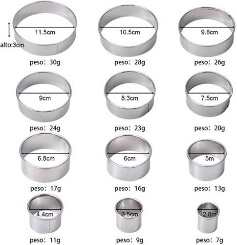 Dimensioni del set di Coppapasta Rotondi Zitfri con Diametri da 2,8 a 11,5 cm.