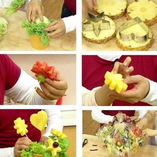 Set di Coppapasta Amison usati per preparare spiedini di frutta