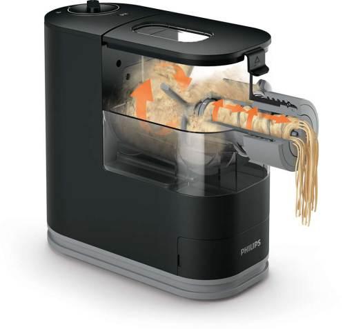 Sezione tridimensionale della Pasta Maker Viva Hr2345/29 che mostra il mMovimento orario delle pale per l'impasto ed il processo di Estrusione