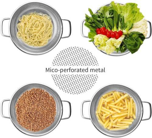 Scolapasta Microforato Con Manici In Acciaio Basicform 4