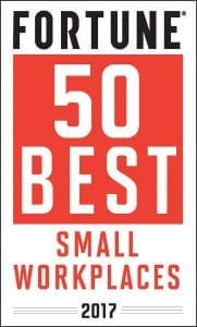 Fortune 50 best small workplaces certified logo 2017